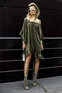 Glamour Army [[MORE]]Melina Stiletto Lace Up Ankle Boots in Khaki Faux Suede | Ocko Shop Khahi Dress | Golden Sunglasses (H&M) | Random brand golden cuffs (similar here) | Tiara Concept Store Silver BagFashion by Alina