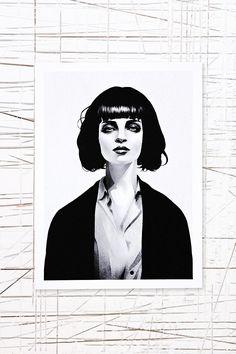 Mrs Mia Wallace Art Print by Ruben Ireland - pulp-fiction Fan Art Mia Wallace, Pulp Fiction, Mode Collage, Ohh Deer, Illustration Mode, Portraits, Art Mural, Wall Art, Framed Art