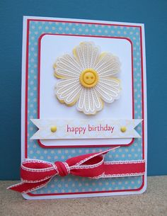 bright and happy handmade card ... white embossed vellum flower placed over yellow backing ... primary colors ... from: White House Stamping: Mixed Bunch Birthday... Stampin' Up!