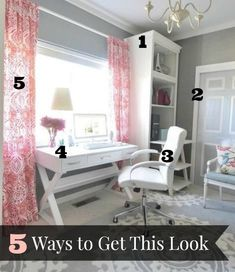 5 Ways to Get This Look:  Pink and Gray Office Space