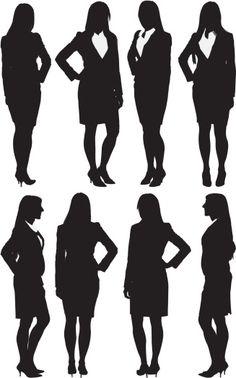 Vectores libres de derechos: Multiple images of a businesswoman standing