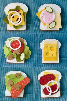 felt food -sandwiches details http://www.flickr.com/photos/pink_lemo_nade/6560391113/in/set-72157623369593837 http://www.flickr.com/photos/pink_lemo_nade/6560391961/in/set-72157623369593837 http://www.flickr.com/photos/pink_lemo_nade/6560392639/in/set-72157623369593837