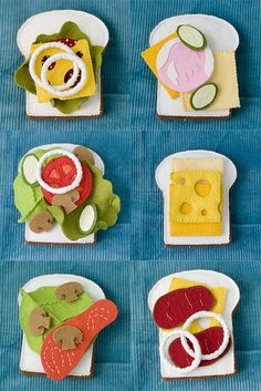felt food -sandwiches details http://www.flickr.com/photos/pink_lemo_nade/6560391113/in/set-72157623369593837 http://www.flickr.com/photos/pink_lemo_nade/6560391961/in/set-72157623369593837 http://www.flickr.com/photos/pink_lemo_nade/6560392639/in/set-72157623369593837