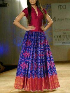 Ikkat kanchi border lehenga body -2.8 meters, blouse -90cm, width -46inches