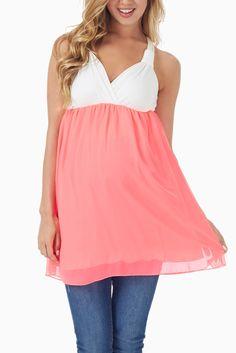 Neon-Pink-Colorblock-Racerback-Maternity/Nursing-Tank-Top #maternity #fashion