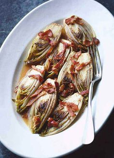 Chicory braised with bacon, cider and garlic | @styleminimalism
