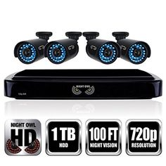 Special Offers - Night Owl Security B-A720-41-4 4 Channel HD Video Security System with 1 TB HDD and 4x720p HD Cameras (Black) - In stock & Free Shipping. You can save more money! Check It (July 16 2016 at 10:18PM) >> http://smokealarmsusa.net/night-owl-security-b-a720-41-4-4-channel-hd-video-security-system-with-1-tb-hdd-and-4x720p-hd-cameras-black/