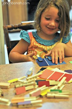 Color matching with paint chips and clothespins--yay!!! - interested to see how the children will respond to this activity