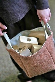 upcycled basket (from wool sweater + linen shirt)