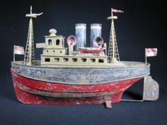 ANTIQUE VINTAGE TIN TOY OCEAN BOAT HARBOR SHIP MARKLIN BING FISHING CRAFT | eBay
