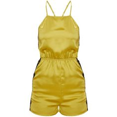 Dark Lime Satin Lace Back Playsuit (€36) ❤ liked on Polyvore featuring jumpsuits, rompers, lace back romper, playsuit romper, satin romper and satin rompers