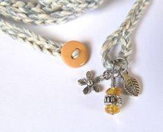 Crochet bracelet with charms wrap bracelet grey by CoffyCrochet
