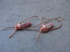Peruvian Opal Raw Copper Hoop Earrings Wire Wrapped Bohemian by SydneyAustinDesigns