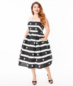 Vintage Dresses - Retro & Vintage-Inspired Dresses – Unique Vintage Pin Up Dresses, Unique Dresses, Plus Size Dresses, Striped Skirt Outfit, Skirt Outfits, Vintage Inspired Dresses, Vintage Dresses, Glamour, Swing Skirt