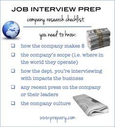 job interview prep company research checklist