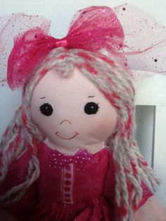 "PDF Cloth Rag Doll Pattern Fuchsia   - Great Beginner Easy Sewing Pattern for 14"" Cloth Doll by Peekaboo Porch"