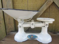 Vintage scale, Viking Scale, Enamel Scale Bowl, Balance Scale, weight and measures, antique scale by KarensChicNShabby on Etsy