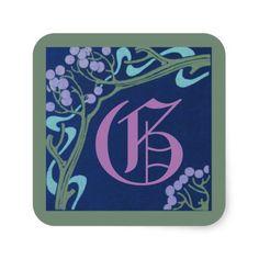 Capital Letter G Art Nouveau Stickers by Janz