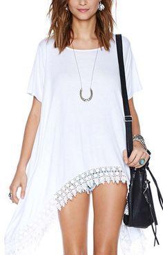 White O-neck Short Sleeves Lace Hem Casual T-shirt