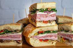 Italian Muffuletta Italian Salami, Italian Deli, Giada Recipes, Cooking Recipes, Best Selling Cookbooks, Sammy, Sliced Ham, Wrap Sandwiches, Party Sandwiches