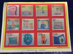 Snorkkleen calendar back cover; shows each month in English and Spanish with children's art work.