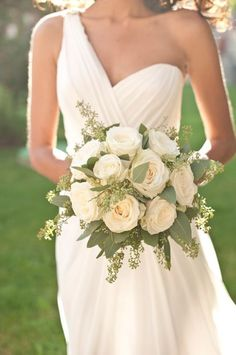 bouquet with added succulents, white freesia and lambs ear - slightly smaller in size with light gold satin stem wrap