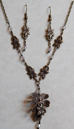 Lovely 18 brass leaf filigree necklace and matching by Ziplily