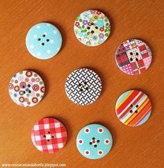 Katia Bonfadini: Customizando um casaquinho simples com os botões estampados da LA COMPAÑIA DEL ORIENTE