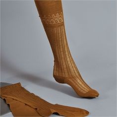 Women's 1890's Victorian Patterned Silk Lisle Stockings