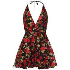 Black Floral Embroidered Halterneck Plunge Skater Dress ($83) ❤ liked on Polyvore featuring dresses, plunge skater dress, flower embroidered dress, halter-neck dresses, floral embroidery dress and halter strap dress