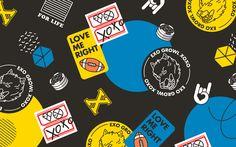 Design Studio SAWORL » SMTOWN X EMART School Package Design Typography Logo, Graphic Design Typography, Graphic Design Illustration, Kim Jongin, Badge Design, Vintage Labels, Stickers, Design Reference, Mask Design