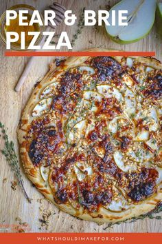 You'll love this easy recipe for homemade pear pizza. I've topped mine with brie, but you can sub feta, goat cheese or gorgonzola on top and even add caramelized onions. It's sweet and savory! Brie, Pizza Recipes, Lunch Recipes, Burger Recipes, Barbecue Recipes, Barbecue Sauce, Grilling Recipes, Pear Pizza, Pizza Pizza