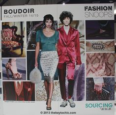 Fall Winter 14/15 fashion: Boudoir is full of luxe indulgences such as silk, jacquard, and velvet. Prints and patterns mimic the wall papered hallways of legendary hotels with ditsy florals and tie prints, while delicate trims like ostrich feathers play up glamour. Soft shades like powdery blues, lilac, vanilla, and pale pink mix with deeper jewel tones.