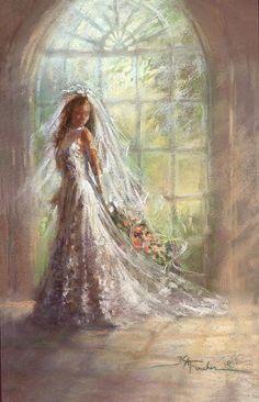 Bride, by American artist, Kathryn Andrews Fincher Wedding Bells Clip Art, Wedding Art, Wedding Beauty, Wedding Images, Photo Illustration, Illustrations, Wedding Illustration, Wedding Painting, Wedding Scrapbook
