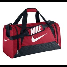 e3a6178061e3 Nike Brasilia 6 Medium Duffel Bag Gym Red Black White - Athletic Sport Bags  at Academy Sports