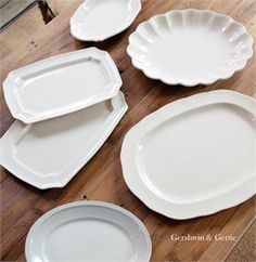Farmhouse Creamware Flea Market Find Random Platters: Set of 6