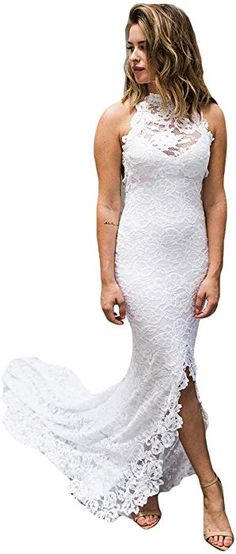 cbdca6b50bb4 Dreagel Women s Sexy Lace Wedding Dress Mermaid Beach Bridal Dress Open  Back White US 8 at Amazon Women s Clothing store