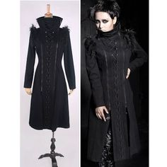 Black Steam Punk Gothic Vampire Military Overcoat Trench Coat Men