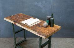 USA, c.1940s. Industrial Factory Clerk's Slab Wood Desk/Table. Steel Base.