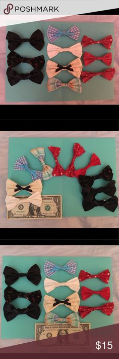 Set of 10 hair bows for sale Beautiful handmade hair bows for sale. Some of them were used but in excellent condition, some of them is new. Accessories Hair Accessories