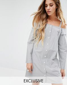 Buy it now. Reclamed Vintage Off Shoulder Shirt Dress - Grey. Dress by Reclaimed Vintage, Woven fabric, Striped design, Bardot neckline, Cami straps, Button placket, Relaxed fit, Machine wash, 65% Cotton, 35% Polyester, Our model wears a UK 8/EU 36/US 4 and is 162cm/5'3.5 tall, Exclusive to ASOS. ABOUT RECLAIMED VINTAGE Reclaimed Vintage is a limited-edition collection made from vintage fabrics and up-cycled original vintage pieces. The Reclaimed team trawl markets and warehouses to uncover…