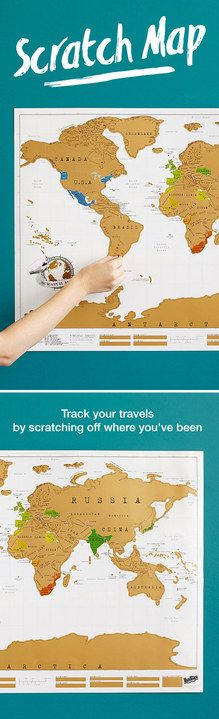 Track your travels with a  scratch-off-where-you've-been map that charts globetrotting in a fun, colorful and innovative way!