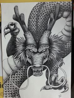 So, I had to redraw the Shenron from Dragon Ball Z for the competition as digital was not accepted. Rather rushed as the competition ends tonight at Shenron The Dragon God of Dragon Ball (pencil) Shen Long Tattoo, Dragon Super, Manga Dragon, Fairy Drawings, Dope Cartoon Art, Anime Tattoos, Tatoos, Japanese Tattoo Art, Z Tattoo