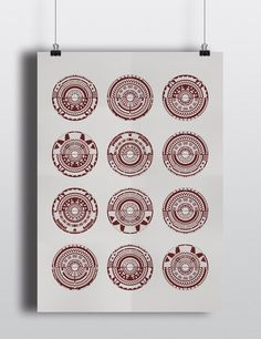 LE Geometric Light Grey and Red Screen Print One Of A Kind