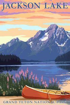 Grand Teton National Park, Wyoming - Colter Bay - Lantern Press Artwork (Art Print Available) Us National Parks, Grand Teton National Park, Photo Vintage, Parcs, Vintage Travel Posters, Retro Posters, Wyoming, Photos, White Wood