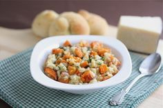 Sweet potato risotto - yum! Not a lot of kick, but a nice twist on a comfort food. Kid approved.