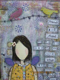 Mix media painting ...canvas  11x 14.  She art workshop