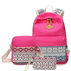 Printing Backpack Set School Bags For Teenage Girls Canvas Striped Prints Candy Color Mochila Rucksack Laptop Gifts Mochila Adidas, High School Bags, School Bags For Girls, Laptop Rucksack, Laptop Bag, Bag Women, Bags For Teens, Laptop Shoulder Bag, Shoulder Bags