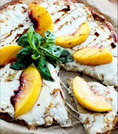 Peach, mozzarella, and balsamic pizza with cauliflower crust