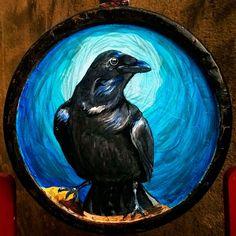 Retrato de um corvo em aquarela e nanquim feito por Dario Taboka.